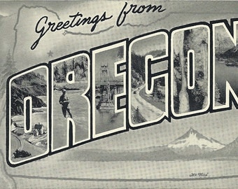 Vintage 1940's Oregon Postcard Greetings From Oregon