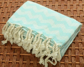New with Small Weaving Defects - Personalized Handwoven Chevron Turkish Towel - Peshtemal Towel - Monogramming Embroidery - AQUA GREEN