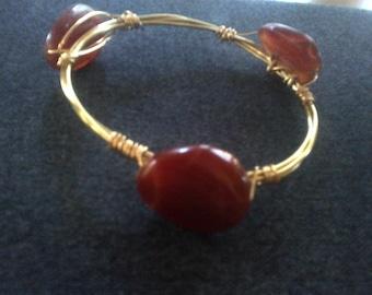 Bangle  - stones, fall colors, orange,