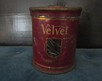 Antique Advertising Tin Velvet Pipe Tobacco L & M Crimson with Gold Trim  Patina Old Covered Cylinder Clean Tin