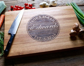 Personalized Chopping Block, Engraved Chopping Block - Edge Grain 12x15 - Personalized Wedding Gift, Housewarming Gift, Anniversary Gift