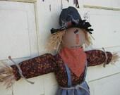 Primitive Scarecrow Hanging Doll Door Hanger - Fabric - Fall Door Greeter - Halloween - Primitive Scarecrow Wall Hanging
