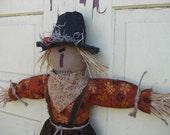 Hanging Primitive Scarecrow Doll Door Greeter - Fabric - Fall Door Hanger - Halloween - Primitive Scarecrow Wall Hanging