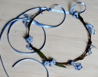 Blue Simple Bridal Floral Crown spring forgetmenots Renaissance Hair Wreath Wedding accessories blessingway headwreath rustic celtic halo