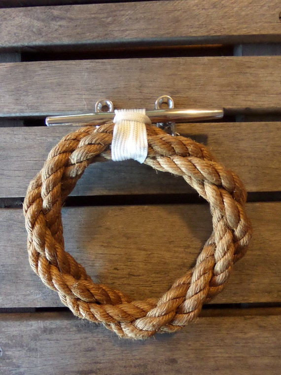 Manila Natural Rope Towel Ring With Stainless Steel Cleat Nautical Bathroom or Kitchen Fixture Marine Beach