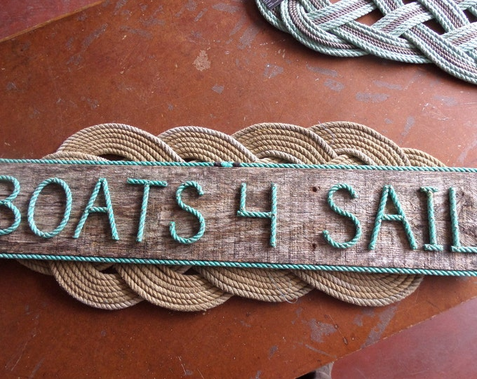 BOATS 4 SAIL Nautical Sign Rope Letters Pallet Wood With Green Rope Letters Indoor/Outdoor