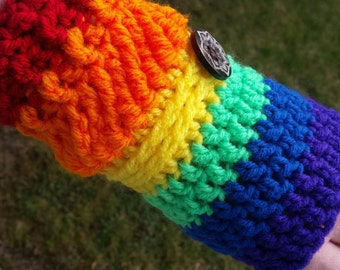 Rainbow Up & Down Fingerless Gloves Crochet Mitts, Armwarmers, Texting Gloves, READY TO SHIP, Women, Teens, Girls