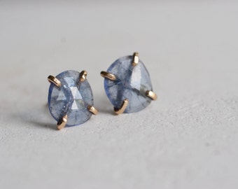 Rose Cut Tanzanite Earrings   Solid 14k Recycled Gold   Tanzanite 14k Gold Stud Earrings