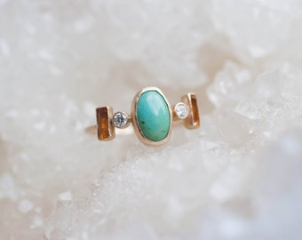 Dyer Blue Turquoise, Citrine, and Diamond Ring | 14k Recycled Gold