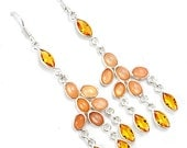 Special Prom Sale, Beautiful Yellow Indian Citrine and Pink Moonstone Dangle Earrings, 925 Silver