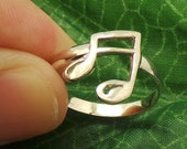 925 Sterling SIlver Music Note Ring - Cute Little Adorable Size Selectable US 3 - 13 - Christmas Gift, Gift for her, Gift for Musician