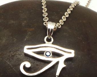 Hieroglyphic Egyptian Eye of Horus Necklace Silver Jewelry - Blue Sapphire Cz Semptember Birthstone