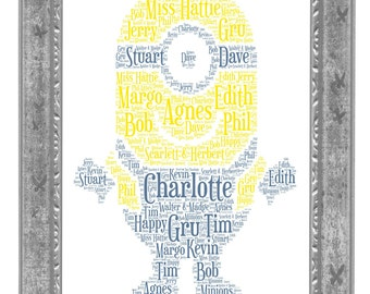 Personalised Minion Word Art Gift Unique