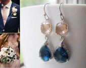 Navy Blue & Blush Earrings Bridesmaids / Glass Dangle Teardrop /  Wedding / Bridal / 14K Gold Filled Wire / Silver Champagne / Montana Blue