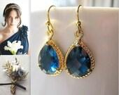 Blue Sapphire Gold Teardrop Earrings / Glass Dangle / Navy Blue / Montana Blue / Bridesmaids / Wedding / 14K Gold Filled Wire / September