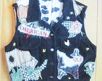 OOAK Embellished Vintage Black Velvet Vest FUNNY FARM - Fully Lined - Upcycled Repurposed Recycled Clothing