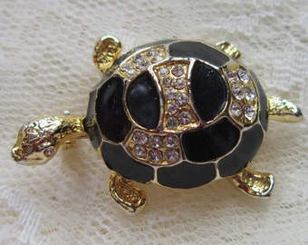 Vintage Rhinestone and Enamel Turtle Brooch - Vintage Turtle Brooch - Rhinestone Turtle Brooch - Vintage Turtle Pin - Rhinestone Pin- BR-445