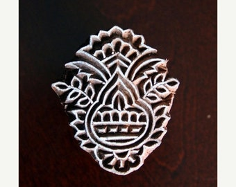 THANKSGIVING SALE Hand Carved Indian Wood Textile Stamp Block- Floral Motif (Reduced)