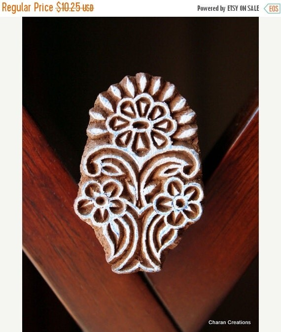 THANKSGIVING SALE Hand Carved Indian Wood Textile Stamp Block- Floral Motif