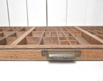 Vintage Letterpress Drawer Hamilton Large Wooden Antique Printers Press Storage Wall Hanging Display Case