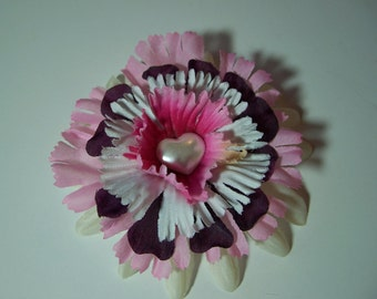 Fashion Flower Accessory, Hair Clip or Lapel Pin, Pink White and Burgundy Flower Pin or Hair Clip, Small Gift