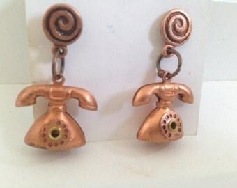 Phone Earrings Vintage Copper Handma Spiral Pierced Dangle Phone Home