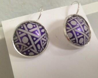 Purple Bubble Earrings Pierced Lightweight Handmade