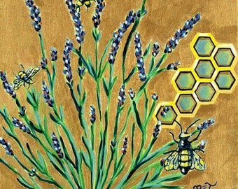 Lavender Honey GREETING CARD - lavender art, bee art, gold, purple, bumble bees, botanical painting, insects
