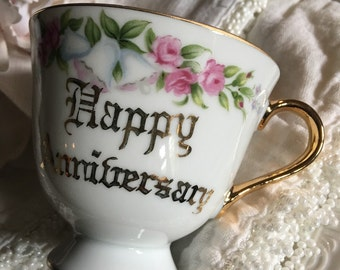 Vintage Happy Anniversary Teacup Norcrest Fine China Tea Cup Pink Roses White Bells - #5645