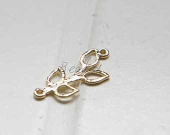 2pcs / Leaf / Shiny Gold Plated / Real Gold / Brass Base / Charm (C1177//G752)