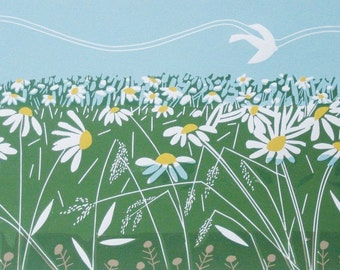 Daisy Meadow - White Meadow Linocut - Green Summer Meadow - Original Limited Edition of only 20 - Landscape  by Giuliana Lazzerini