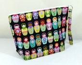 Knitting Project Bag - Medium Zipper Wedge Bag in Colorful Matryoshka Doll Fabric and Yellow / White Polka Dot Cotton Lining