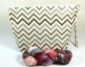 Knitting Project Bag - Large Zipper Wedge Bag in Silver / Beige Chevron Home Decor Fabric and Bird and Floral Cotton Lining