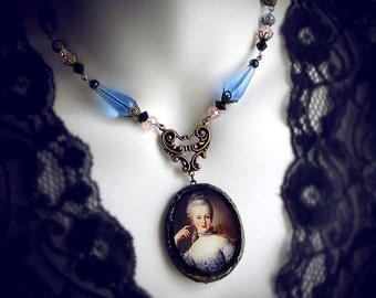Queen Marie Antoinette, polymer clay pendant necklace, French Queen, historical jewelry, Rococo