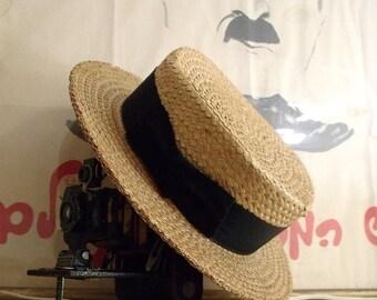 1920's Men's Straw Boater Hat ~ Brimmed Skimmer Hat ~ Size 7