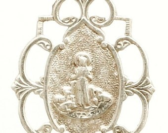 Saint Germaine & Holy Lambs Vintage Silver Religious Medal Pendant on 18 inch sterling silver rolo chain