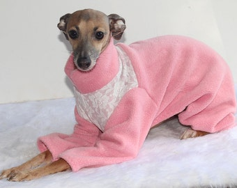 SHADEDMOON DESIGN - Italian Greyhound Jammies - Rose Pink with Cream Floral Lace Yoke  - IMPORTANT - see item details