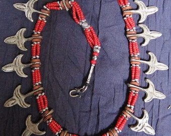 Vintage Moroccan Necklace with metal pieces & red beads