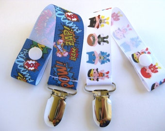 Superhero Pacifier Clip- Boy Pacifier Clip- Universal PACIFIER CLIP- Baby Boy Gift- Boy Dummy Clip- Baby Boy Paci- Soother String-Geeky Baby