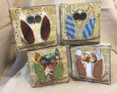 Canvas owl art mixed media vintage book pages fabric felted wool