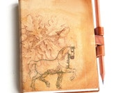 HORSE JOURNAL large with oak tree Leonardo da vinci drawing free initials or name by request