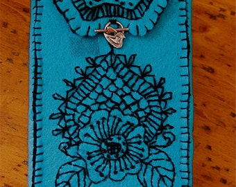 HENNA PATTERNED Handstitched TAROT Bag with Blessing