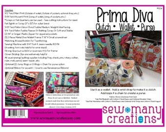 Instant Download - PDF Sewing Pattern - Prima Diva Clutch Wallet