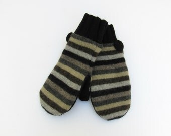 Wool Mittens Fleece Lined Black Grays Browns and Khaki Striped Felted Wool Sweater Mittens