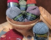 """100% natural """"Mithril"""" wool yarn in 6 colors - 50gm skeins, DK, New Zealand, Stansborough, LOTR Hobbit, green, red, orange, grey, blue, pink"""