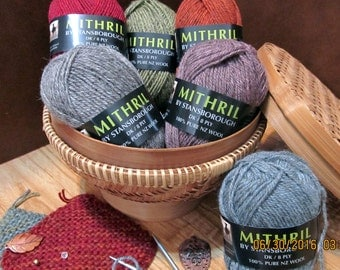 Mithril 100% natural wool yarn in 6 colors - 50gm skeins, DK, New Zealand, Stansborough, LOTR Hobbit, green, red, orange, grey, blue, pink