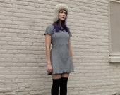 Checkered Mini Dress - Plaid Black White 90s Goth VTG - Size M