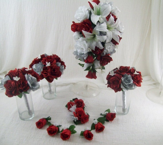 lily and rose red white and silver cascade bridal bouquet silk. Black Bedroom Furniture Sets. Home Design Ideas