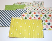 Recipe Divider Cards, Set of 6, Colorful Divider Tabs, 4x6 Recipe Dividers, Honeycomb Dividers, Polka Dot Recipe Cards, Yellow Kitchen