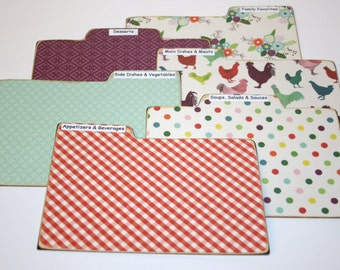 Recipe Divider Cards, Set of 6, Colorful Chickens Tabs, 4x6 Recipe Dividers, Red and Aqua Dividers, Polka Dot Recipe Tabs, Farmhouse Kitchen